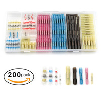200pcs Heat Shrink Butt Terminals Crimp Connector Insulated Thickening Electric Wire Splice Cable Connector 22 10 AWG Kit