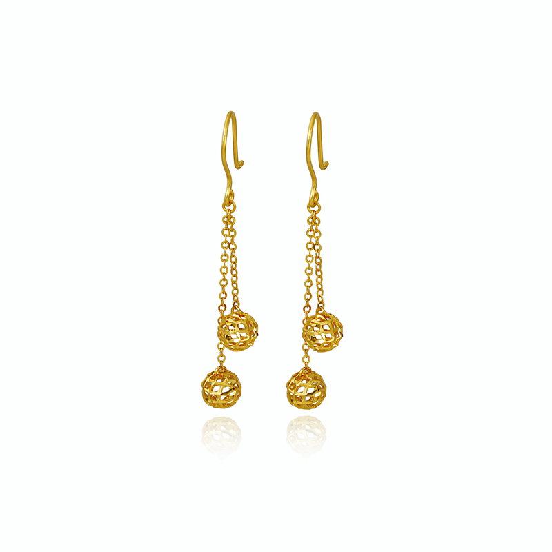Pure AU750 Yellow Gold Earrings Women Hollow Ball Dangle Earrings 1.53g