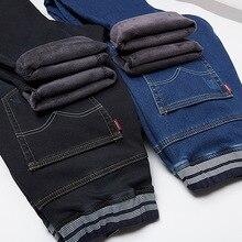 Большой Размеры 4Xl 5Xl 6Xl удобные Джинсы для Для мужчин Эластичная лента Джинсы хлопок Тонкий прямые брюки зима утолщение Для мужчин S Джинсы