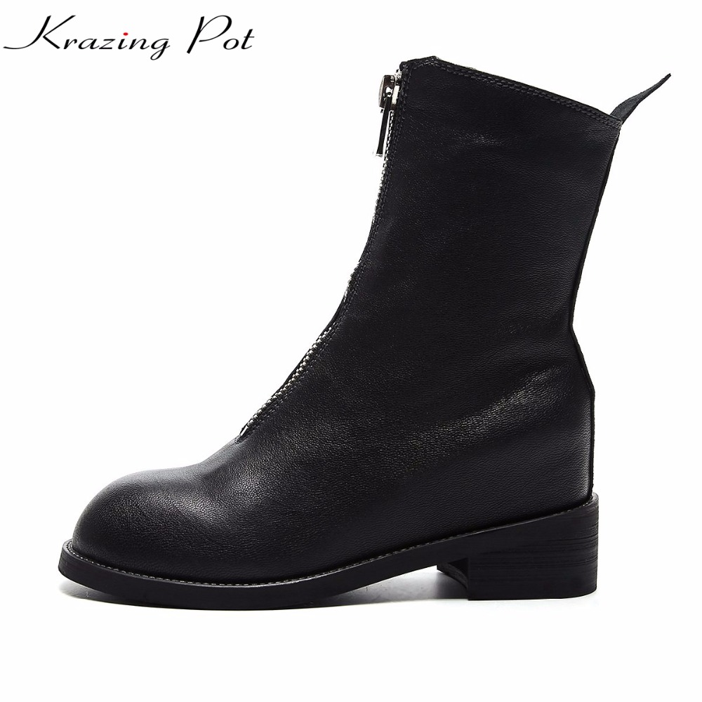 Krazing pot streetwear round toe zipper high heels punk style winter boots fashion increased European design mid-calf boots L69