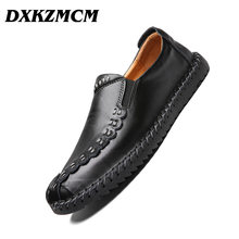 DXKZMCM Men Casual Shoes Fashion Men Shoes Genuine Leather Men Loafers Moccasins Slip On Men's Flats Male Driving Shoes(China)