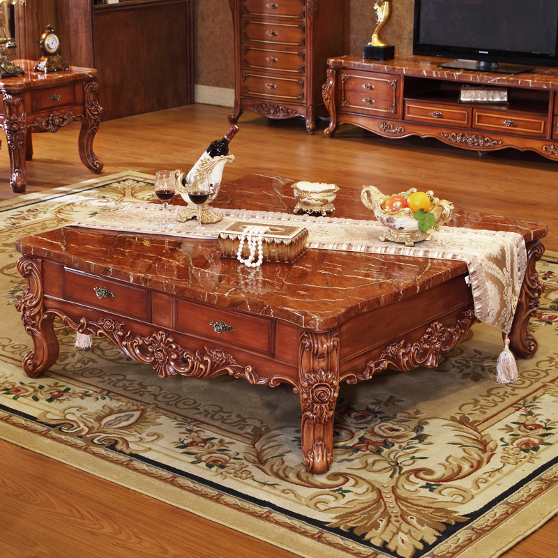 European Style Living Room Furniture Solid Wood Big Square