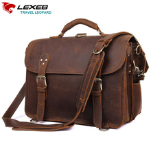 LEXEB Full Grain Leather Briefcases Men's Laptop Bag 15 Inch Vintage Classic Office Bags For Men 42cm Length High Quality Brown