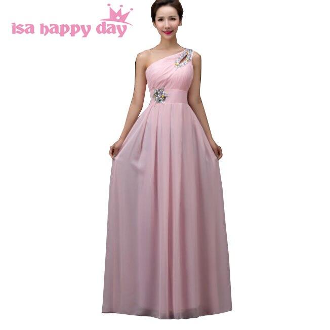 Une épaule étage longueur robes rose country western demoiselle d'honneur robe 2019 demoiselle d'honneur en mousseline de soie robes de demoiselle d'honneur moins de 100 H3754