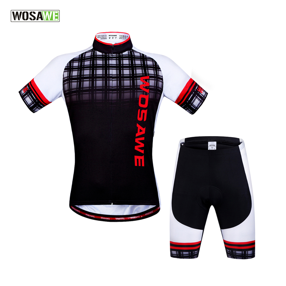 WOSAWE Cycling Jersey Set Short Sleeved Bicycle Bike Jersey Men Summer style Gel Pad maillot ciclismo Cycling Clothing paladinsport men s skull patterned short sleeved dacron cycling jersey white red xl page 7