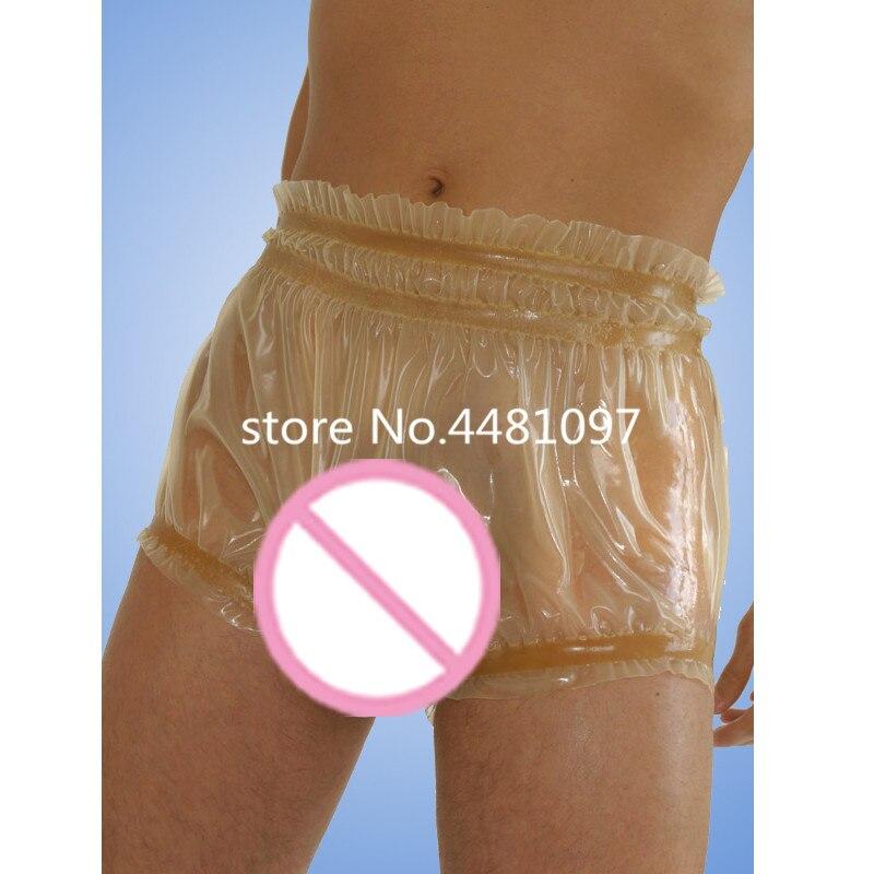Latex Rubber Sexy Boxer Shorts for Men Nature Transparents Underpants pouch panties for men lingerie men