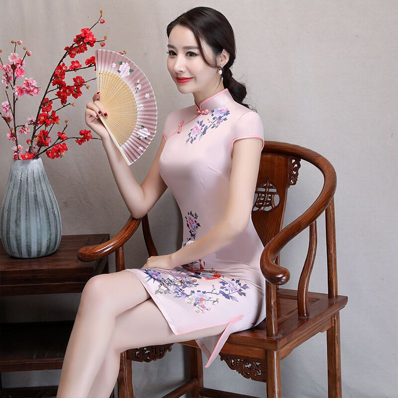 New Arrival Women's Satin Mini Cheongsam Fashion Chinese Style Dress Elegant Slim Qipao Clothing Size S M L XL XXL 368483 19