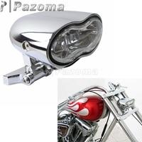Motorcycle Chrome Universal Twin Headlight Wave Billet Halogen Double Headlamp for Harley Choppers Customs Honda Yamaha Suzuki