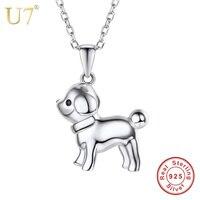U7 100% 925 Sterling Silber Hündchen Halskette Niedlichen Tier anhänger & Kette Silber 925 Schmuck Geburtstagsgeschenk für Mädchen/Frauen SC19