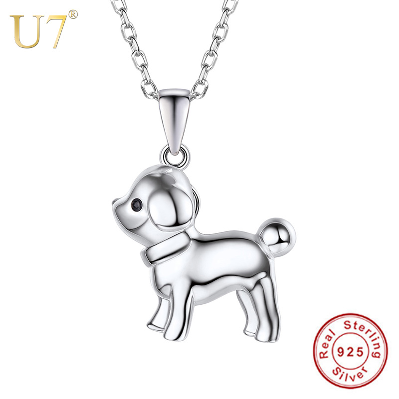 U7 100% 925 Sterling Silver Puppy Dog Necklace Cute Animal Pendant & Chain Silver 925 Jewelry Birthday Gift for Girl/Women SC19 cute dog heart pendant necklace for women
