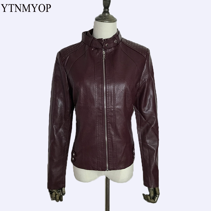 YTNMYOP New Slim Women   Leather   Jacket Office Lady   Leather   Coat Outerwear Plus Size M-4XL Ladies Clothing Autumn Fashion   Suede