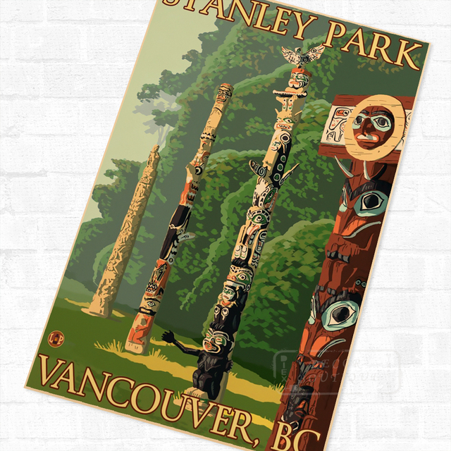 20 Kinds America Alaska Cannon Beach Canada Banff Retro Vintage Travel Poster Canvas Diy Wall Sticker