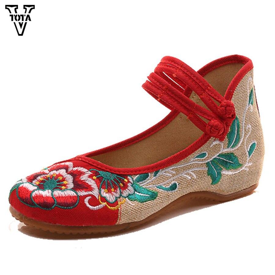 VTOTA Embroider Women Shoes Flat Elegant Ladies Shoes Hemp Fashion Breathable Causal Shoes Woman Loafers Slip On Flats LFXY