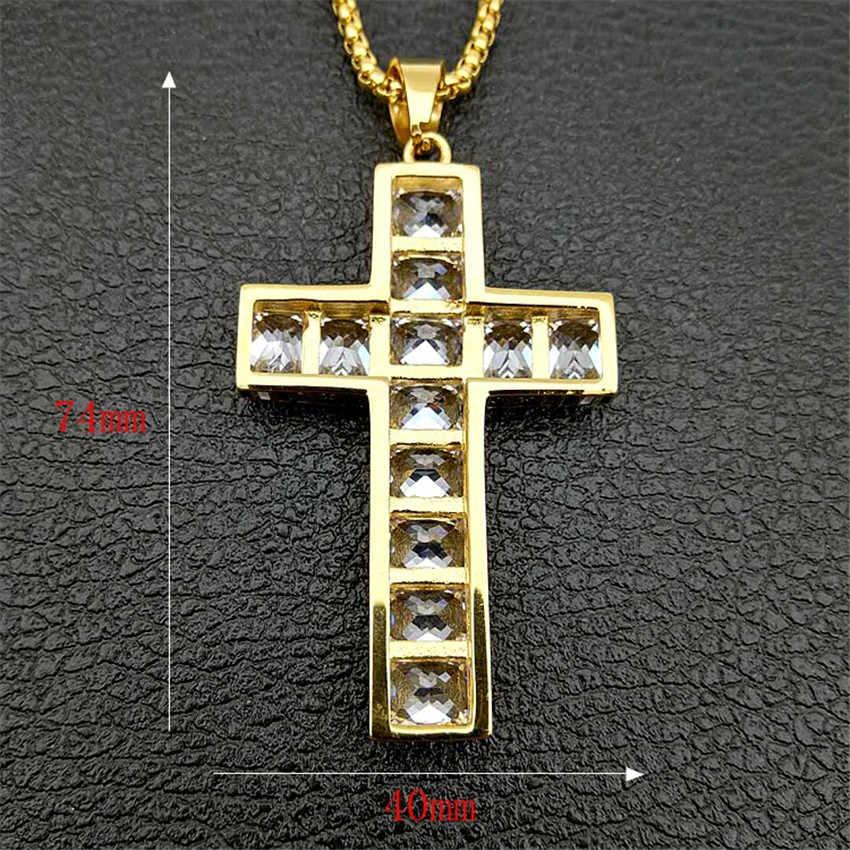 Hip Hop ciężki duży wielki krzyż naszyjnik świąteczny prezent złoty kolor stal nierdzewna Iced Out CZ Bling biżuteria chrześcijańska