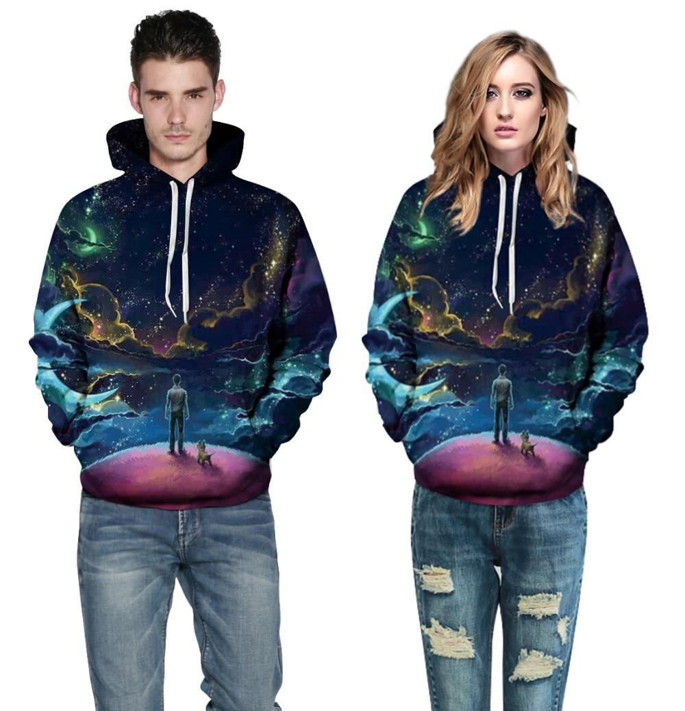 Plus Size Tracksuit Men Dog Galaxy Digital Print Sweatshirts Women Hooded Sweatshirt Autumn Long Sleeve Casual Hoodies 3XL
