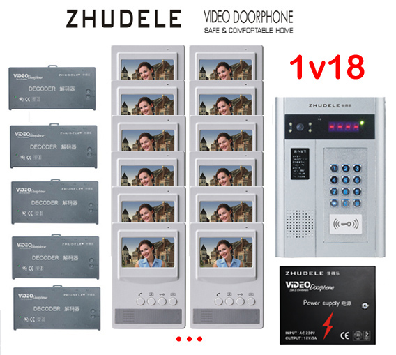 ZHUDELE Building Home security intercom system 18 Units Apartment Video Door Phone Bell Intercom System 4.3TFT monitor IN STOCK