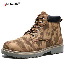 Kyle Keith Fashion Camouflage Autumn Winter Leather Men Boots Casual Travel Platform Cow Muscle Mens Work Boots Size 39-44