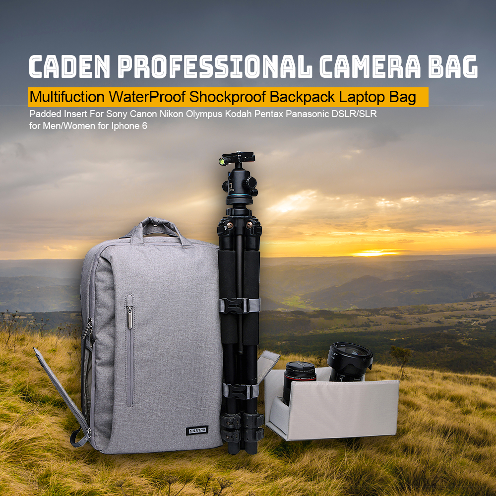 Caden L5 Professional Camera Bag Multifuction WaterProof Shockproof Backpack Laptop Bag Padded Insert for Sony Canon Nikon DSLR new pattern caden l5 camera backpack bag stylish nylon multifunction shockproof video photo bags fit for canon 50d 60d 100d 550d