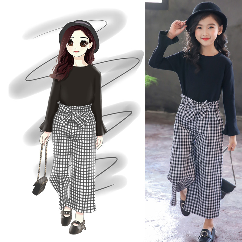 Girls Clothes 2019 Clothing For 12 Years Kids 8 to Teen Solid Shirt + Striped Pants 2 Pcs