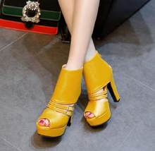 New 2019 summer sandal lady rear zipper heel, super high heel and platform ankle boot, fish-tip yellow(China)