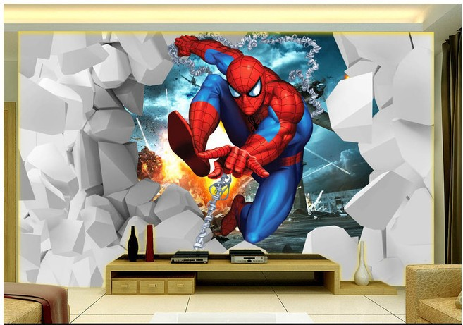 Cartoon Children S Room Bedroom Wallpaper Murals Modern Living Tv Background Wall Paper Spiderman Covering In Wallpapers From Home Improvement