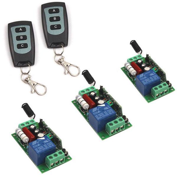 NOS CA CA 110 V 10A1CH Canal 315/433 MHz Interruptor de control Remoto Inalámbrico RF de 2 teclas del Transmisor + 3 receptor