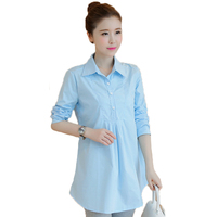 Cotton Maternity Loose Shirt Long Sleeves Pregnant Women Long Blouses Pregnant Women Autumn White Professional Shirt