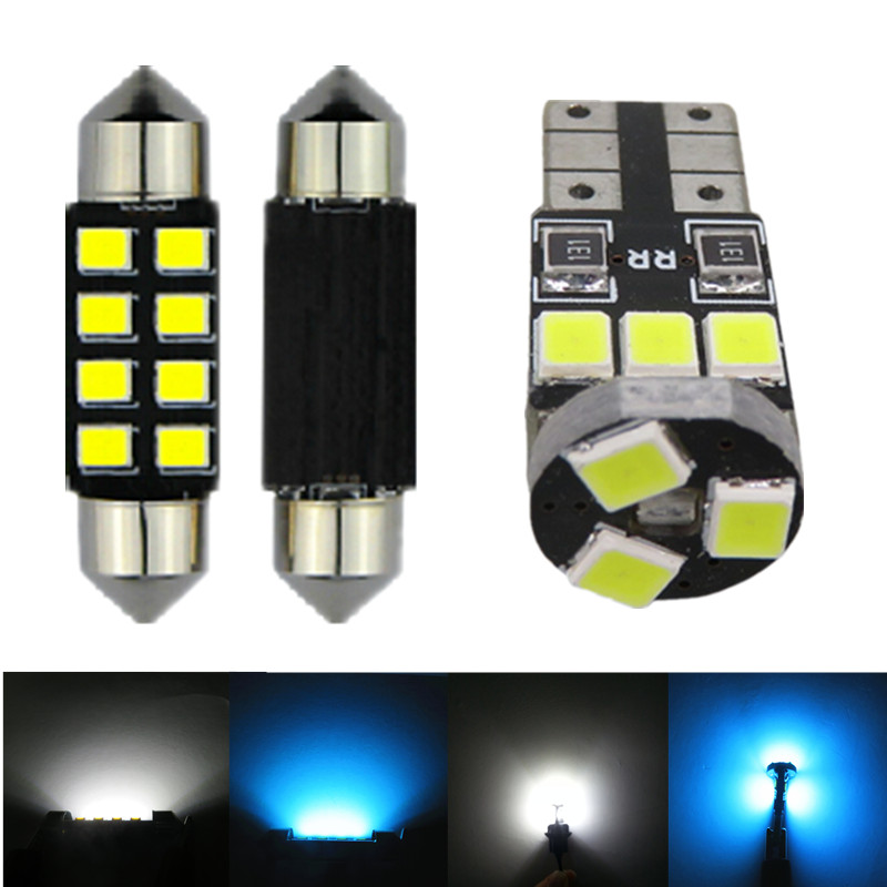 WLJH 8x Pure White Ice Blue 2835 SMD Lamp Bulb Car Led Interior Light Package Kit for Toyota Camry 2007 2008 2009 2010 2011 uxcell 10 pcs ice blue 3020 smd led vehicles car dashboard dash light lamp internal