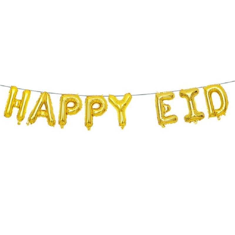 12pcs eid mubarak gold letter balloons ramadan decoration 16 gold silver eid