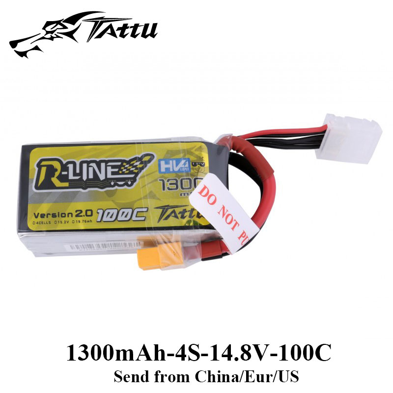цена Tattu RLine Version 2.0 1300mAh 100C 4S 15.2V Lipo Battery XT60 Plug Racing FPV Drone Quadcopter Helicopter Racer New Edition