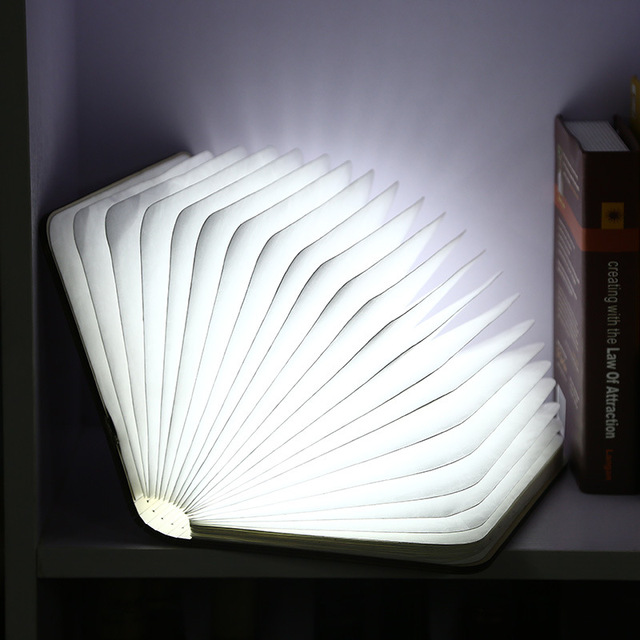 Colorful LED Rechargeable Folding Book Light night Changeable Shape Battery Operated Fixture Beautiful Table Lamp Lights