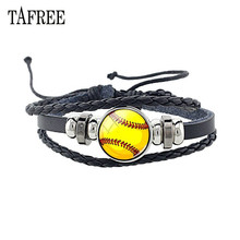 TAFREE Multilayer Black Leather Baseball Charm Bracelet Badminton football Pattern Glass Cabochon Bangles Jewelry SP758