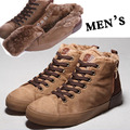 cotton-padded shoes New shoes Warm Winter Men Shoes Plush Winter PU  Flock Lace Men Boots High Top Size 39-43