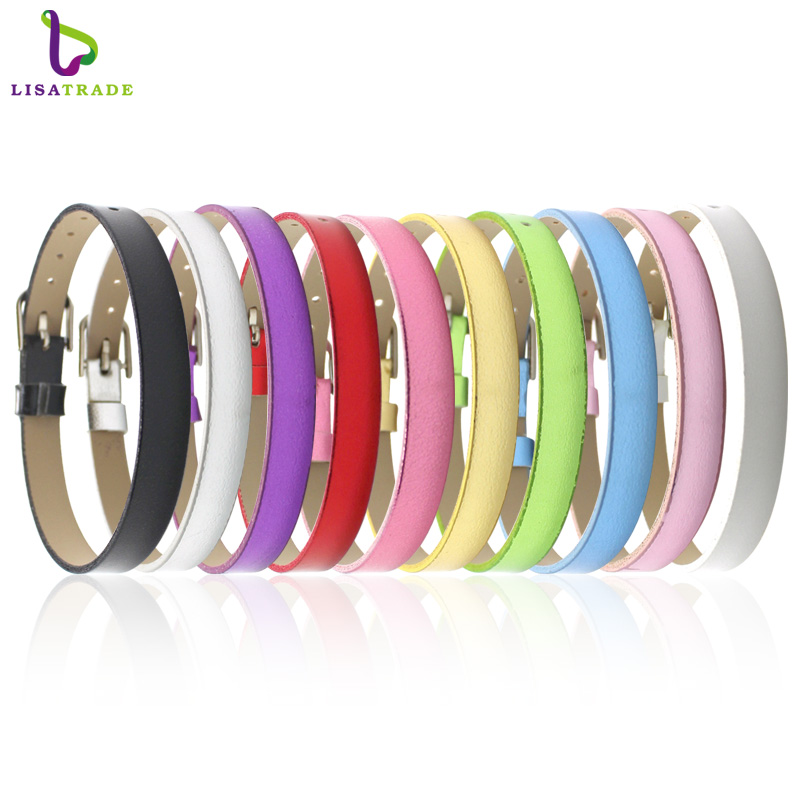 8MM PU Leather Metal Wristband Bracelets  Can Choose the Color (20 pieces/lot) DIY Accessory Fit Slide Letter LSBR07*20