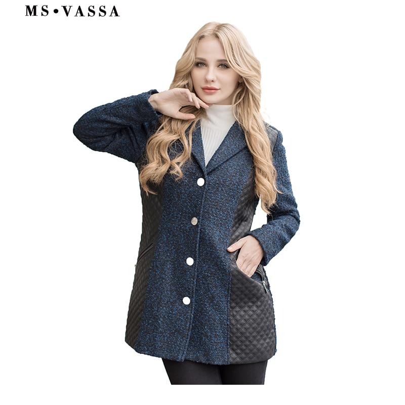 MS VASSA Women coat 2019 New Autumn Spring ladies jacket faux   leather   coat plus size 5XL 7XL wool optic warm outerwear