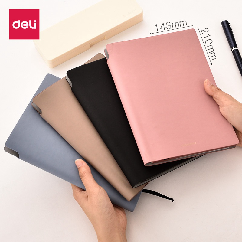 Deli Pu Leather Card Slot Wallet Book For Office Travel 2019 New A5 112 Sheets Meeting Travel Diary Business Notebook