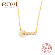 ROXI Korean 925 Sterling Silver Necklace Women Gold Color CZ Pendant Necklace Wedding Girls Statement Jewelry Choker  Necklace