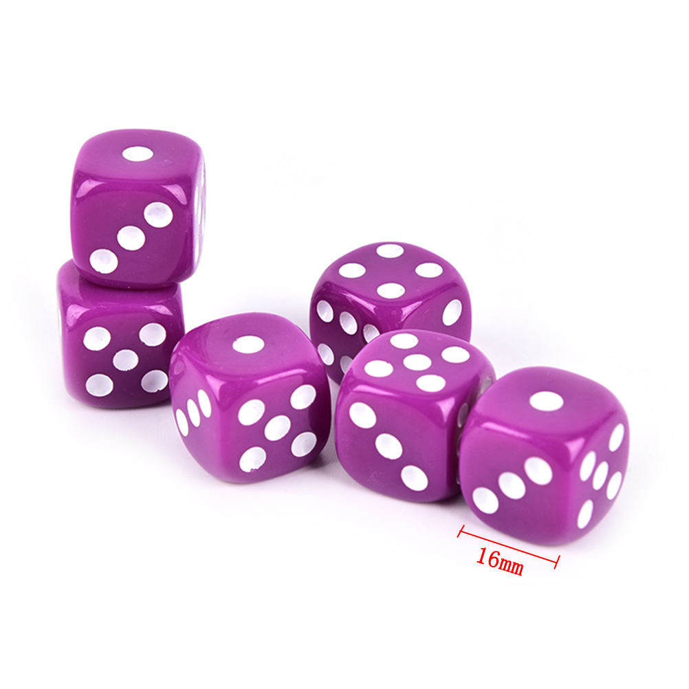 6pcs 16mm Six Sided Spot Fun Board Game Dice Opaque Poker Chips Dice Party Dice Gambling Game Dices D&D RPG Games