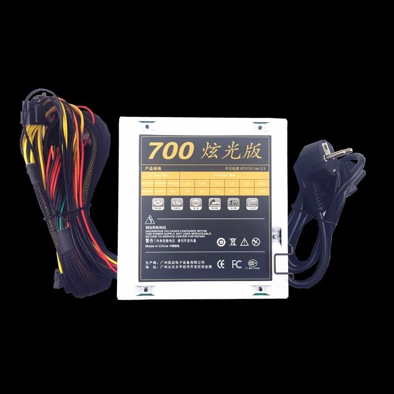 Calme 700 w 12 v PC Alimentation 700 w 24pin ATX Ordinateur Alimentation PSU 700 w PC Gaming puissance avec 7 Coloré LED Lumière MAX 850 w