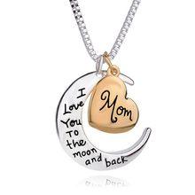 06259e71bffb Europa y América joyería regalo del Día de la madre te amo mamá amor Luna  collar señora invierno suéter cadena