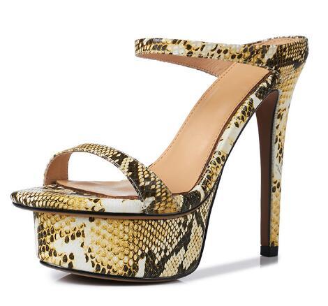 2018 summer new women open heel platform sandals Ladies super high heel sandals Sexy snake skin pattern thin belt sandals