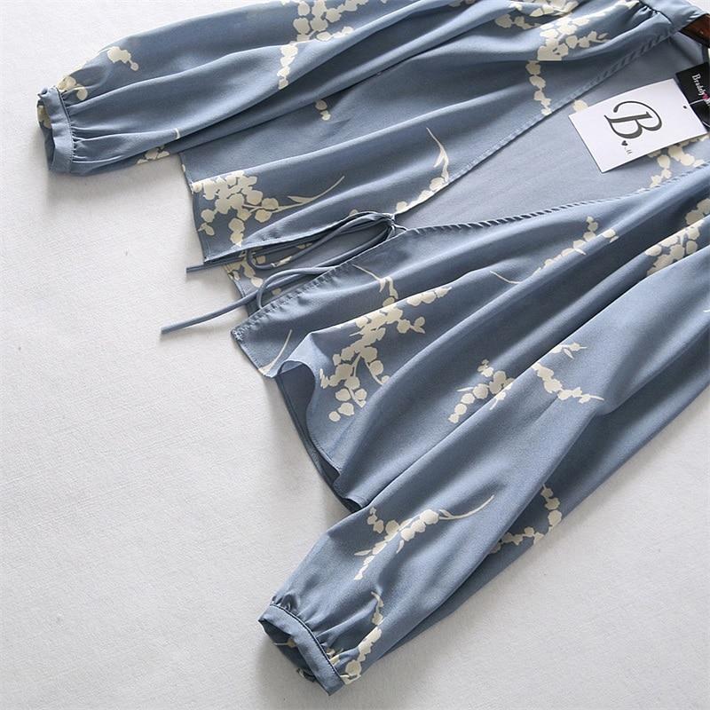 De 10 V 6 Blusa 8 Cuello 9 Gasa 1 Mujeres 3 11 5 4 7 2 Superior Vendaje Tops Linterna Impresión Cordones Manga qEA1W4xf