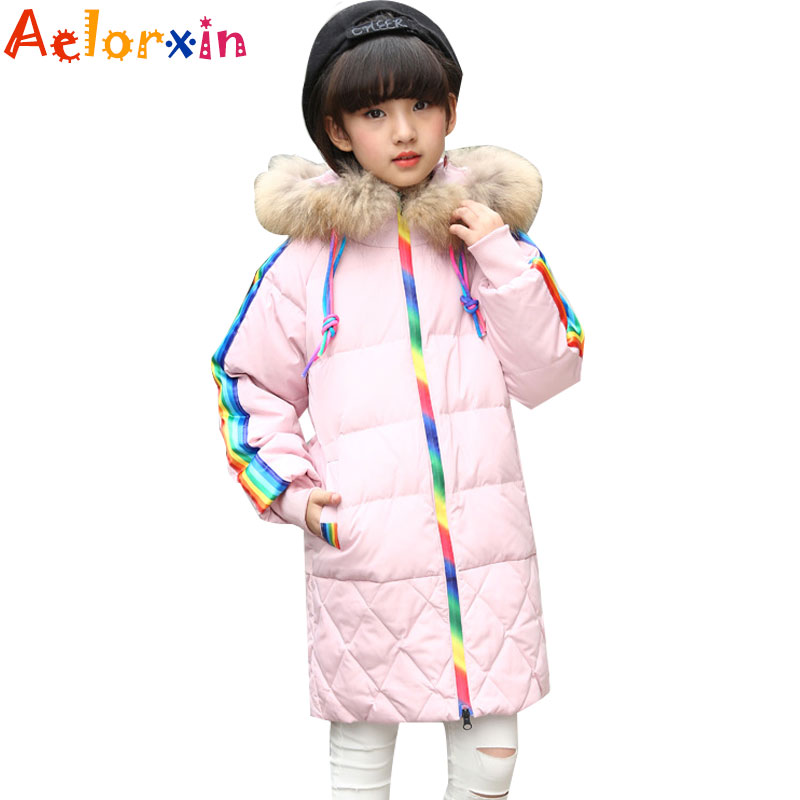 2017 Warm Duck Down Parkas Jackets Girl Winter Jackets Fur Hooded Down Coats for Girls Thicken Outerwear 7 8 9 10 12 13 fashion girl thicken snowsuit winter jackets for girls children down coats outerwear warm hooded clothes big kids clothing gh236