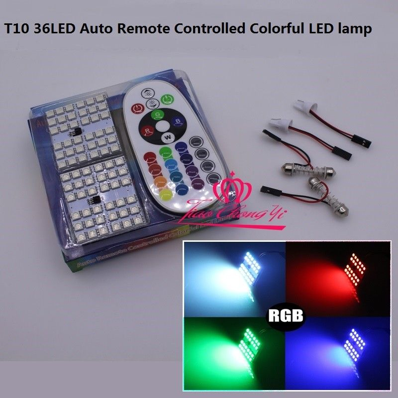 2 block T10 Festoon 24SMD RGB LED Car Dome Reading Light Lamp Bulb+ Remote Control