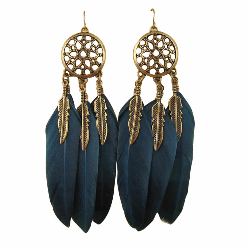 Bohemia Feather Long Design Dream Catcher Earrings for Women Jewelry11.2