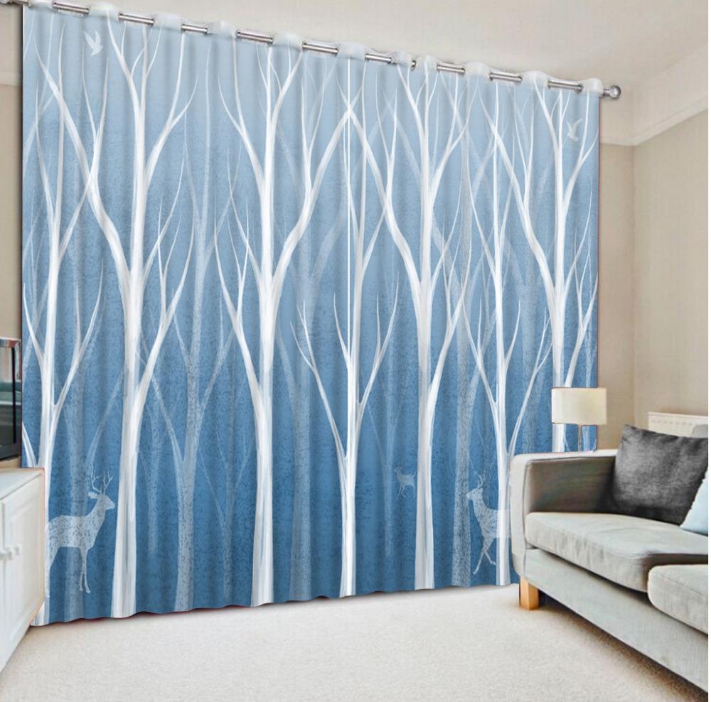 d decoracin del hogar moderno abstracto rbol ciervos moda decoracin saln cortinas cortina de ventana del apagn cortinas