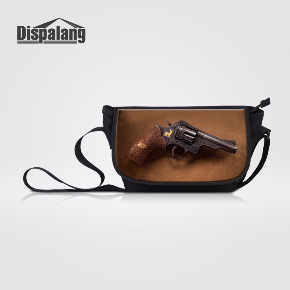 Dispalang новейшая сумка мессенджер, женские сумки на плечо, женская сумка с клапаном, с принтом пистолета, холщовая Повседневная сумка, детские сумки через плечо        АлиЭкспресс
