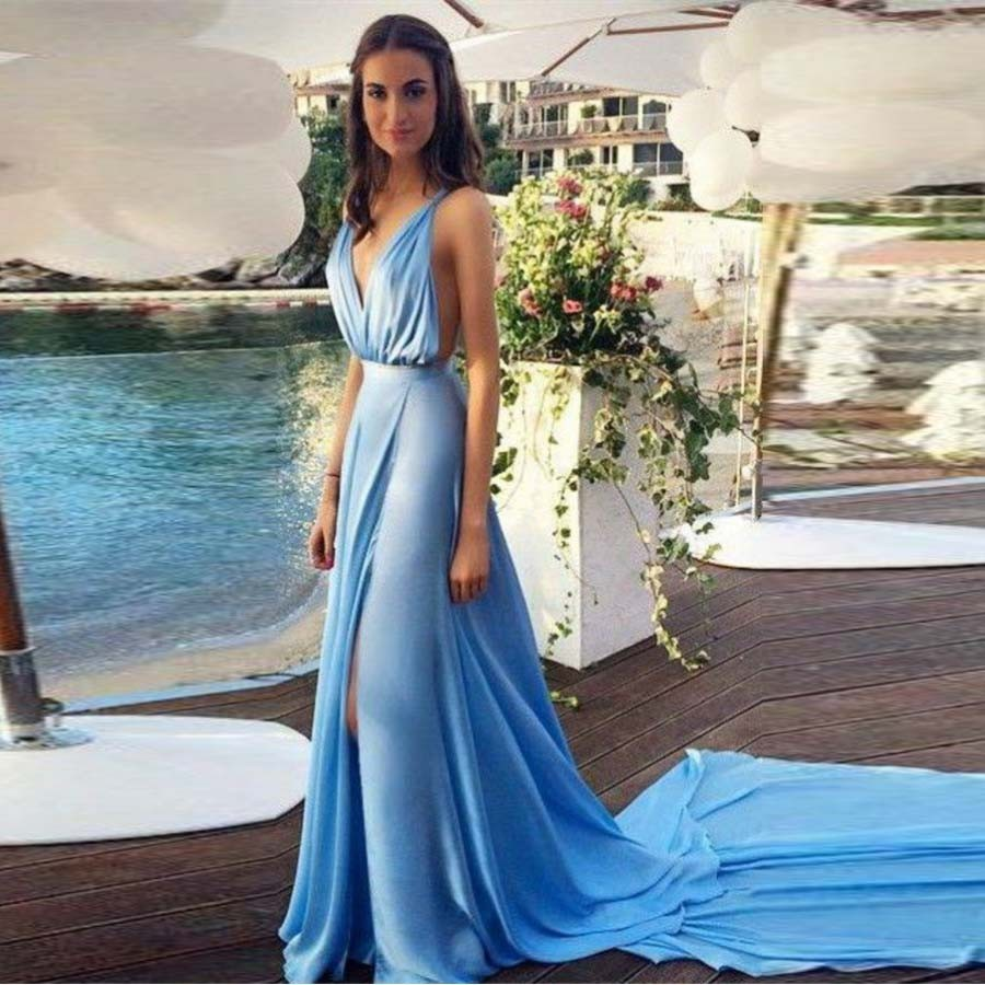 Light Blue Chiffon Women Long Evening Dress 2015 New Arrival Elegant ...