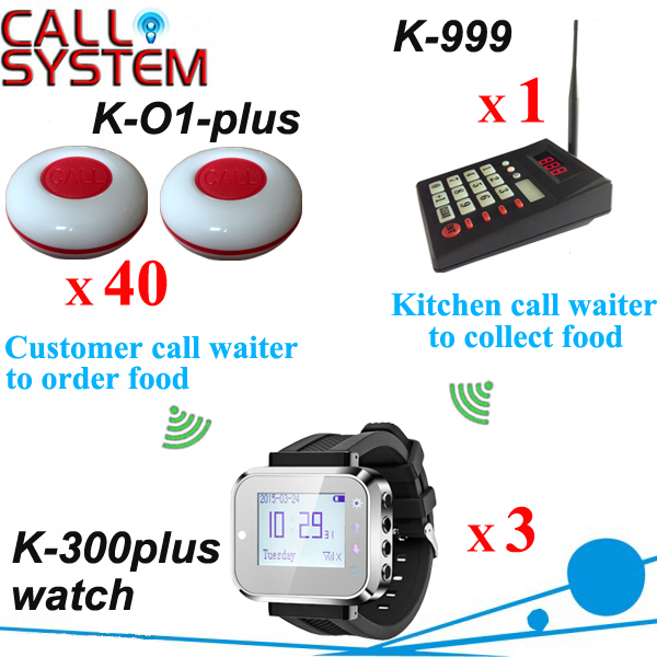 Electronic watch pager system 1 kitchen worker calling device 3 wrist receiver and 40 table buzzer for guest use 2 receivers 60 buzzers wireless restaurant buzzer caller table call calling button waiter pager system