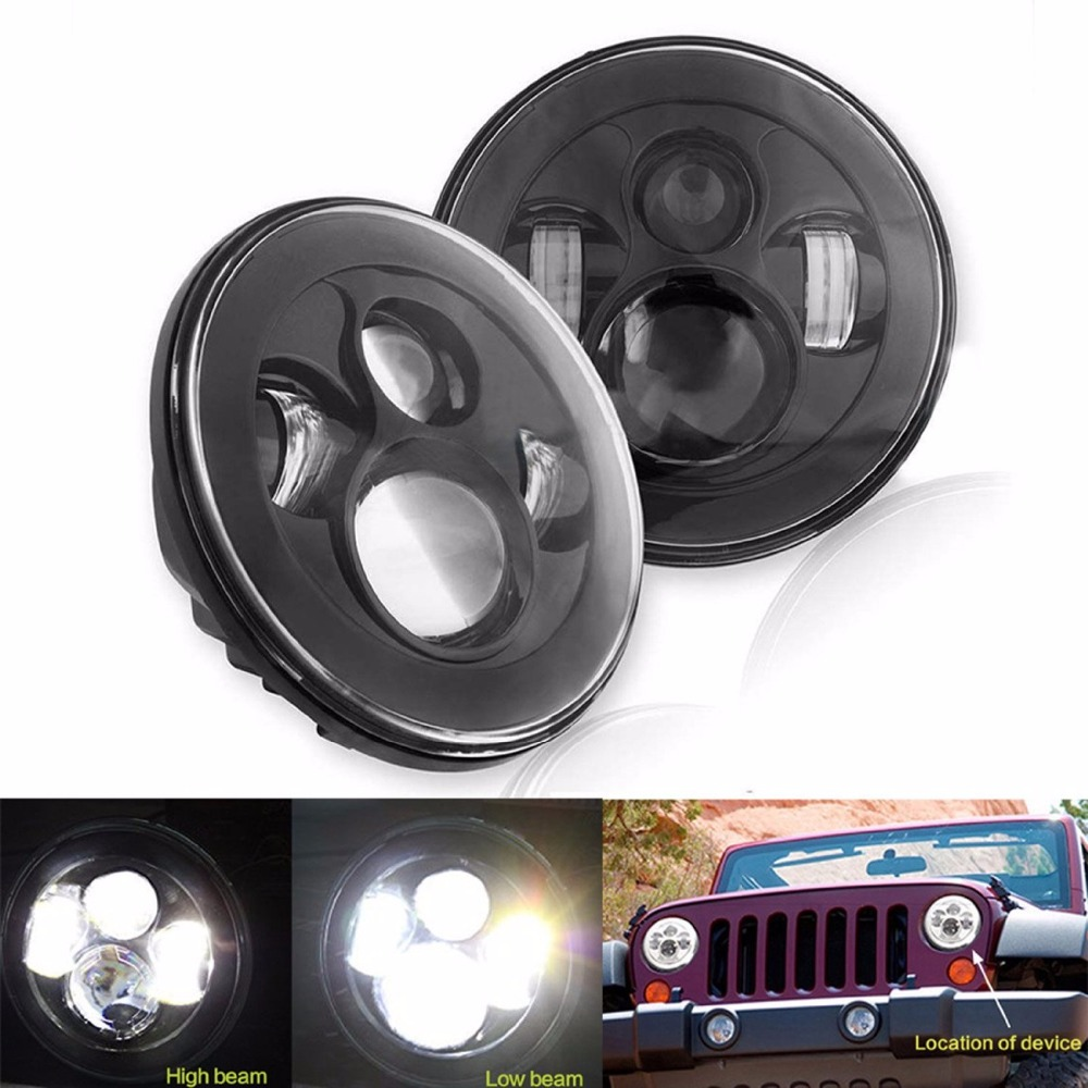 7inch Round LED Headlight with H4 H13 Plug High Low Beam LED Headlamp for Jeeps Wrangler JK CJ LandRover 7'' LED Headlight 2pcs new design 7inch 78w hi lo beam headlamp 7 led headlight for wrangler round 78w led headlights with drl